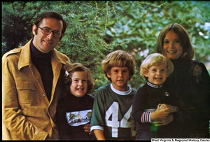 "[""The 1975 Rockefeller family holiday card reads, \""Merry Christmas.\"" Pictured are Jay, Sharon, Valerie, Jamie (John), and Charles Rockefeller.""]%"