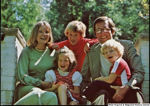 "[""The 1976 Rockefeller family holiday card reads, \""Merry Christmas 1976.\"" Pictured are Jay, Sharon, Valerie, Jamie (John), and Charles Rockefeller.""]%"