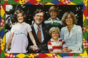 "[""The 1978 Rockefeller family holiday card reads, \""Peace and joy.\"" Pictured are Jay, Sharon, Valerie, Jamie (John), and Charles Rockefeller.""]%"