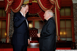 "[""Vice President Dick Cheney administers the oath of office to Senator John D. (Jay) Rockefeller.""]%"