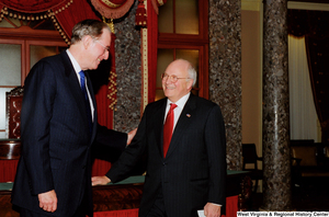 "[""Senator John D. (Jay) Rockefeller smiles with Vice President Dick Cheney during his Senate Swearing-In Ceremony.""]%"