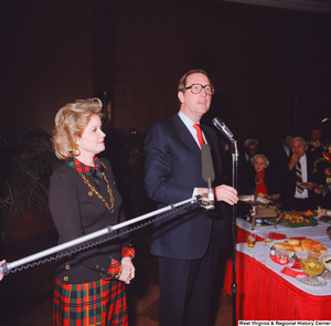 "[""Senator John D. (Jay) Rockefeller and his wife Sharon speak at an event following his Senate Swearing-In Ceremony.""]%"