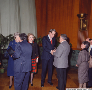 "[""Senator John D. (Jay) Rockefeller and his wife Sharon speak with supporters after the Senate Swearing-In Ceremony.""]%"