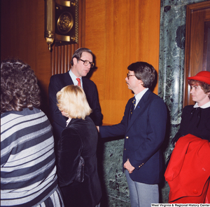 "[""After being sworn into office, Senator John D. (Jay) Rockefeller greets unidentified supporters.""]%"