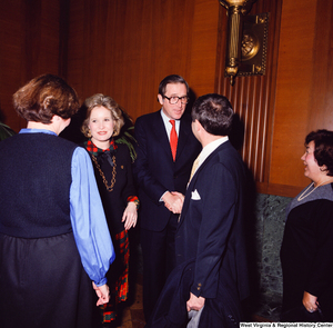 "[""After he is sworn into office, Senator John D. (Jay) Rockefeller and his wife Sharon greet and shake hands with unidentified supporters.""]%"