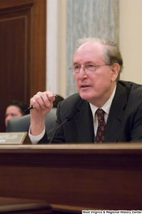 "[""Senator John D. (Jay) Rockefeller listens to testimony at a Commerce Committee hearing.""]%"