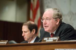 "[""Senator John D. (Jay) Rockefeller listens to testimony at a Senate Select Committee on Intelligence hearing.""]%"