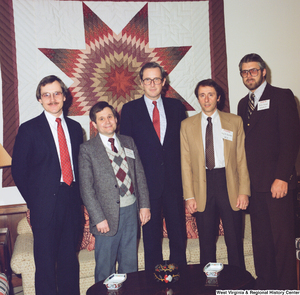 "[""In this color photograph, Senator John D. (Jay) Rockefeller stands with four representatives from the West Virginia Family Resource Network.""]%"