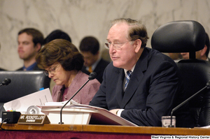 "[""Senator John D. (Jay) Rockefeller and Senate Dianne Feinstein sit at a Senate committee hearing on intelligence.""]%"