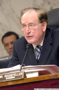 "[""Senator John D. (Jay) Rockefeller listens to testimony during a Senate Select Committee on Intelligence hearing.""]%"