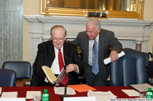 "[""Senator John D. (Jay) Rockefeller and Congressman Nick Rahall talk before a Commerce Committee event.""]%"
