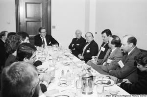 "[""Senator John D. (Jay) Rockefeller sits with representatives from hospitals in  West Virginia.""]%"