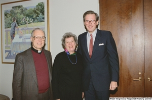 "[""Senator John D. (Jay) Rockefeller stands with the presidents of Indiana colleges.""]%"