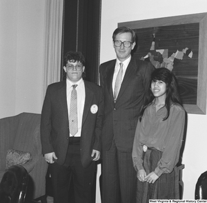 "[""Senator John D. (Jay) Rockefeller stands next to two participants in the Presidential Classroom for Young Americans.""]%"
