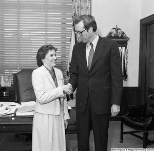 "[""Senator John D. (Jay) Rockefeller shakes hands with a participant in A Presidential Classroom for Young Americans. This program gives young adults hands-on civic-learning experiences with the federal government.""]%"