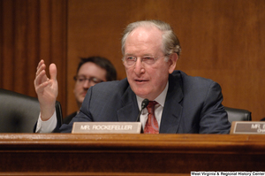 "[""Senator John D. (Jay) Rockefeller speaks at an Intelligence Committee hearing.""]%"