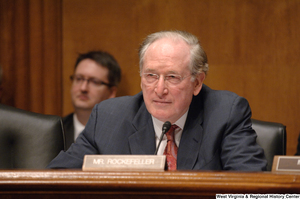 "[""Senator John D. (Jay) Rockefeller listens to testimony at an Intelligence Committee hearing.""]%"