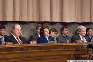 "[""Senators John D. (Jay) Rockefeller and Dianne Feinstein sit at a nomination hearing for Leon Panetta to be the Director of the Central Intelligence Agency.""]%"