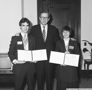 "[""Senator John D. (Jay) Rockefeller poses with the 1985 United States Senate Youth Program delegates from West Virginia. Created in 1962 by Senate Resolution 324, the annual program gives two high school students from each state the opportunity to participate in a week-long immersive experience in Washington, D.C. that focuses on public service, leadership, and learning about the interrelated components of the federal government.""]%"
