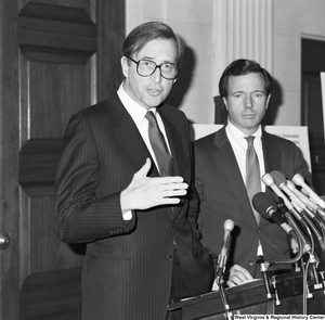 "[""Senator John D. (Jay) Rockefeller speaks at a press event in support of the Dislocated Workers Improvement Act of 1987.""]%"