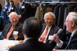 "[""Senator John D. (Jay) Rockefeller speaks to industry leaders at a Welcome to Washington luncheon.""]%"