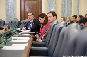 "[""Senators Marco Rubio, Kelly Ayotte, and John Boozman sit at a Commerce Committee hearing titled \""Safeguarding Our Future: Building a Nationwide Network for First Responders.\""""]%"