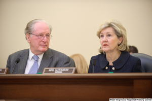 "[""Senators John D. (Jay) Rockefeller and Kay Hutchison listen to testimony at a Commerce Committee hearing titled \""Safeguarding Our Future: Building a Nationwide Network for First Responders.\""""]%"