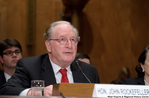 "[""Senator John D. (Jay) Rockefeller speaks at a Homeland Security hearing.""]%"