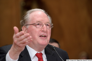 "[""Senator John D. (Jay) Rockefeller gestures as he speaks at a Homeland Security hearing.""]%"