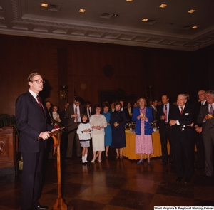 "[""Photograph of Senator John D. (Jay) Rockefeller speaking during a celebration event at the Senate.""]%"