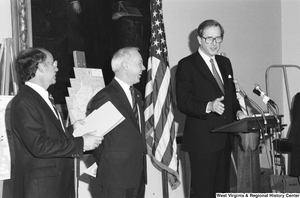 "[""Senator John D. (Jay) Rockefeller speaks at a press event.""]%"