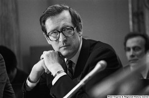 "[""Senator John D. (Jay) Rockefeller listens to testimony at a Senate Commerce Committee hearing.""]%"