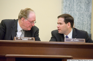 "[""Senators John D. (Jay) Rockefeller and Marco Rubio talk during a Commerce Committee hearing.""]%"