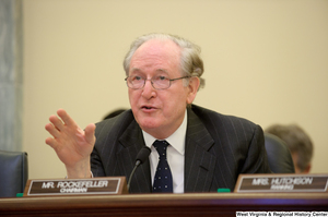 "[""Senator John D. (Jay) Rockefeller speaks during a Commerce Committee hearing.""]%"
