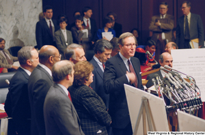 "[""Senator John D. (Jay) Rockefeller speaks during a press conference for the Pepper Commission.""]%"