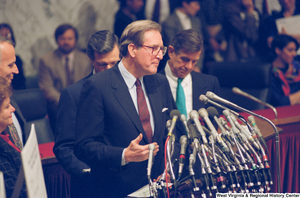"[""Senator John D. (Jay) Rockefeller speaks during a press event for the Pepper Commission.""]%"