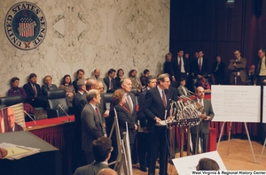"[""Senator John D. (Jay) Rockefeller speaks at a press event for the Pepper Commission.""]%"