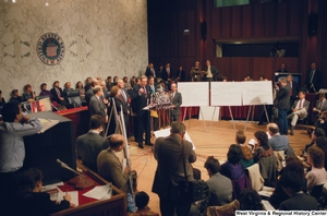 "[""Senator John D. (Jay) Rockefeller speaks at a press conference for the Pepper Commission.""]%"
