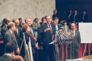 "[""Senator John D. (Jay) Rockefeller speaks at a Pepper Commission press conference.""]%"