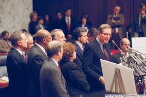"[""Senator John D. (Jay) Rockefeller stands at a Pepper Commission press event.""]%"