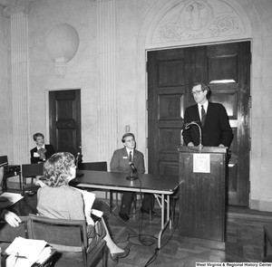 "[""Senator John D. (Jay) Rockefeller speaks at a small unknown event in one of the Senate buildings.""]%"