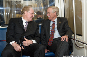 "[""Senators John D. (Jay) Rockefeller and Angus King ride the train to the Capitol Building.""]%"