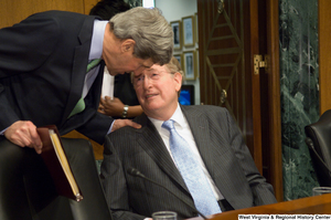 "[""Senators John D. (Jay) Rockefeller and John Kerry speak before a Senate Finance Committee hearing.""]%"