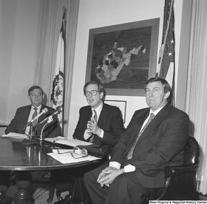"[""Senator John D. (Jay) Rockefeller speaks after a business meeting with representatives from the National Coal Association and Consumers United for Rail Equity.""]%"