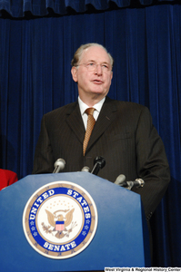 "[""Senator John D. (Jay) Rockefeller speaks at a U.S. Senate press conference.""]%"