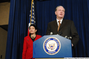 "[""Standing beside Senator Olympia Snowe, Senator John D. (Jay) Rockefeller speaks at a Senate press event.""]%"
