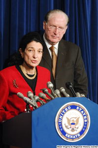 "[""Senator Olympia Snow speaks at a Senate press release.""]%"