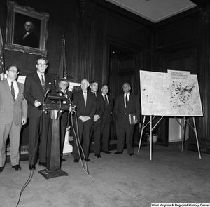 "[""Senator John D. (Jay) Rockefeller speaks at an event for the Coalition for a Competitive America.""]%"