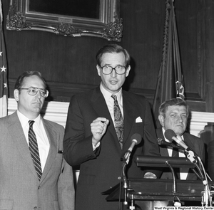 "[""Senator John D. (Jay) Rockefeller speaks during an event with the Coalition for a Competitive America.""]%"
