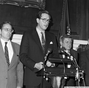 "[""Senator John D. (Jay) Rockefeller speaks at a press event with the Coalition for a Competitive America.""]%"